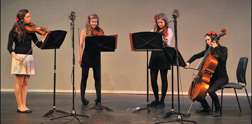 Wadebridge School Strings Quartet performing at the Hall for Cornwall in 2014