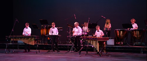 Photograph of All Star Percussion performing at the Hall for Cornwall