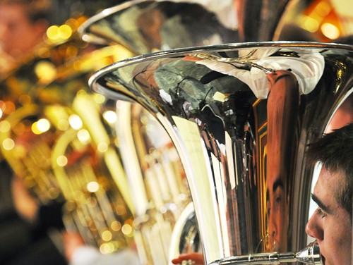 Close up of brass instruments