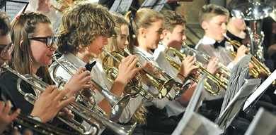 Young brass players in an orchestra