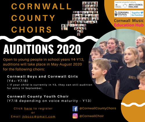 Cornwall County Choirs audition poster