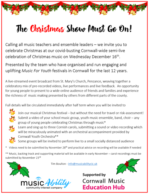 Flyer for MusicAbility and Hub virtual christmas concert on 16th December