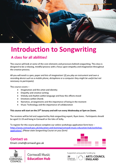 Flyer for introduction to songwriting course